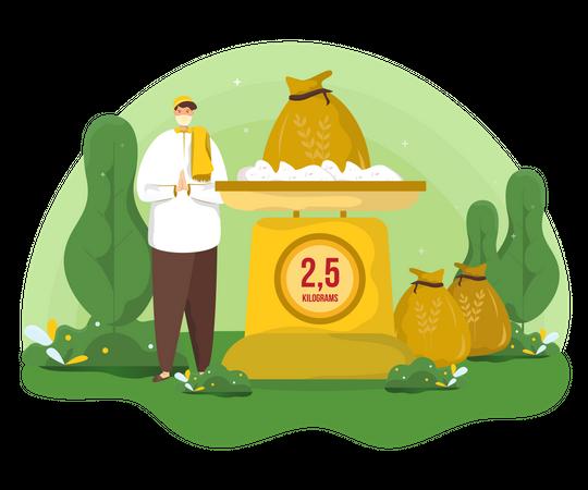 Pay zakat in Ramadan Illustration