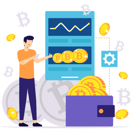 Payment by cryptocurrency Illustration