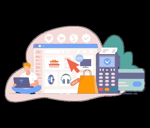 Payment concept for online business Illustration