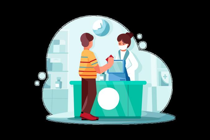 Payment system at Drug Shop Illustration