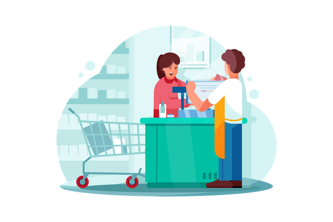 Payment system in Supermarket Illustration