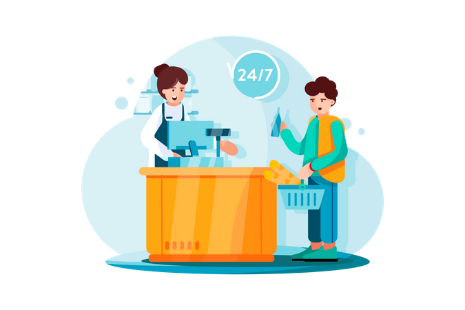 Payment system on Grocery store Illustration