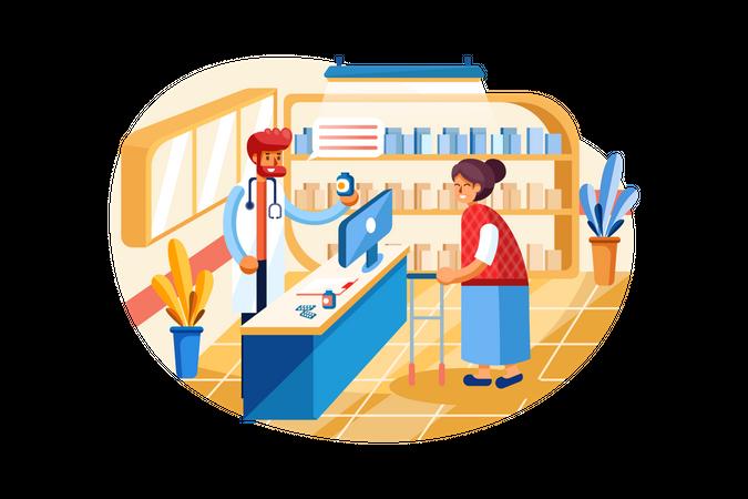 Payment system with Drug Shop on background Illustration