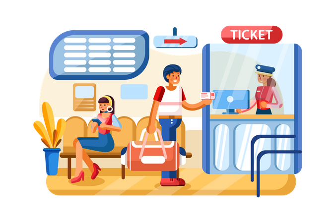 Payment system with Railway station on background Illustration