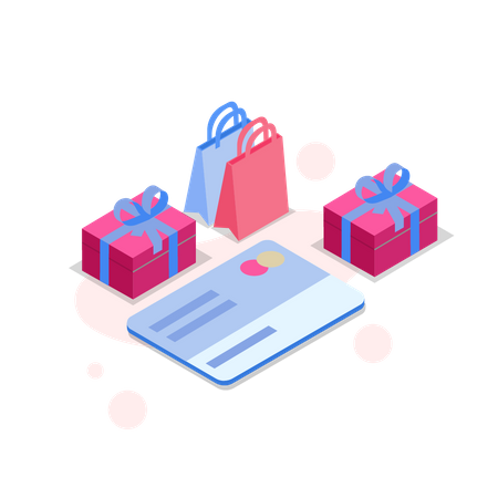 Payment through credit card Illustration