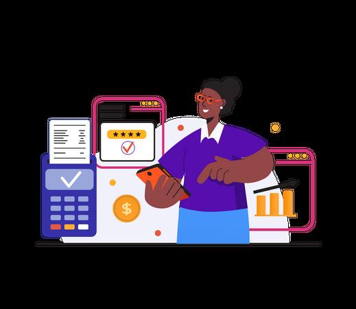 Payment using card swipe machine Illustration