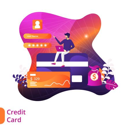 Payment via Credit-Card Illustration