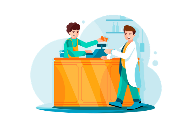 Payment with credit card at medicine shop Illustration