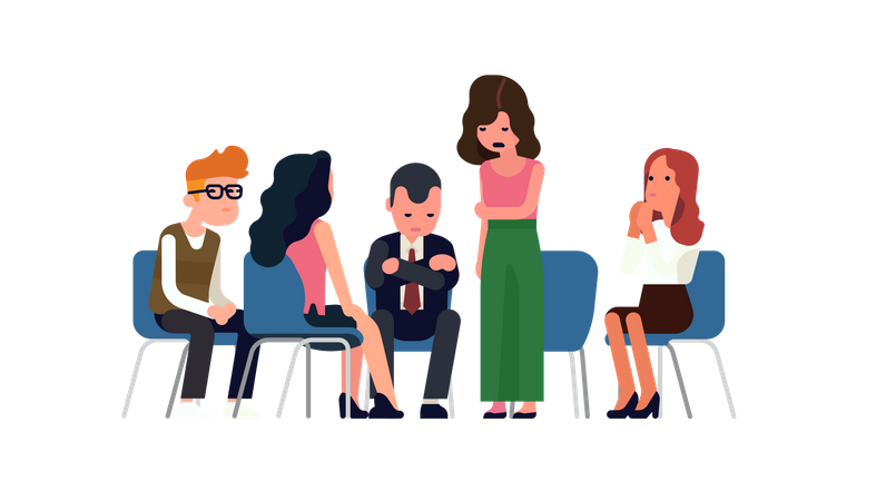 Peer support group or therapy class with men and women sitting round listening to each other's stories and life problems Illustration