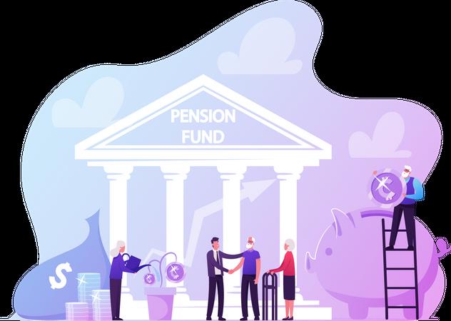 Pension Fund Plan, Insurance and Bank Savings Illustration