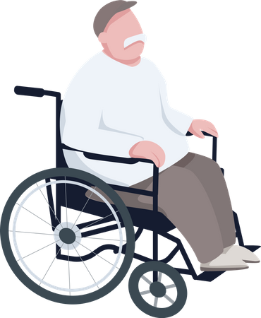 Pensioner in wheelchair Illustration