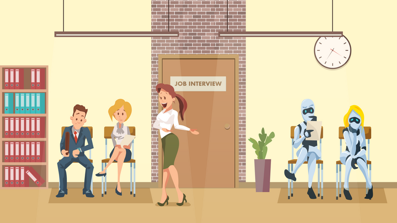 People and Robot Queue for job interview Illustration