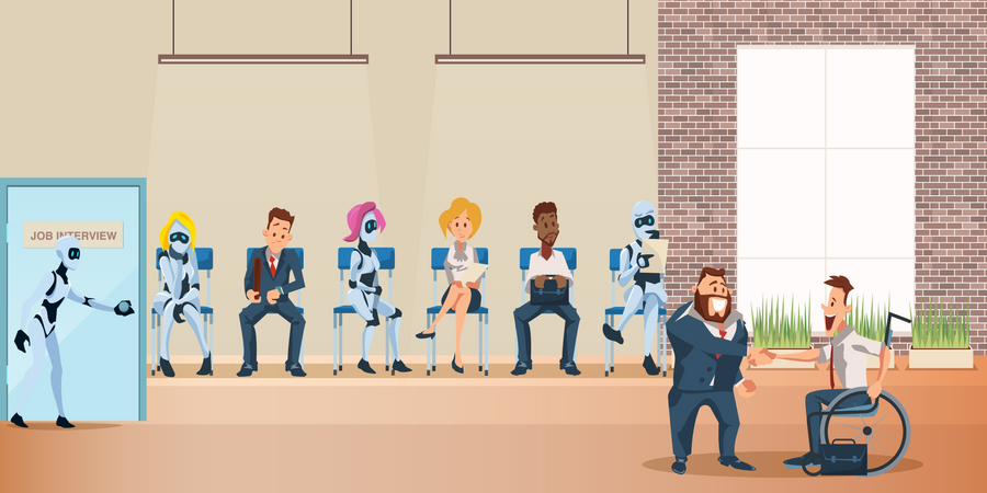 People and Robot Queue sitting for Job Interview at Office Illustration