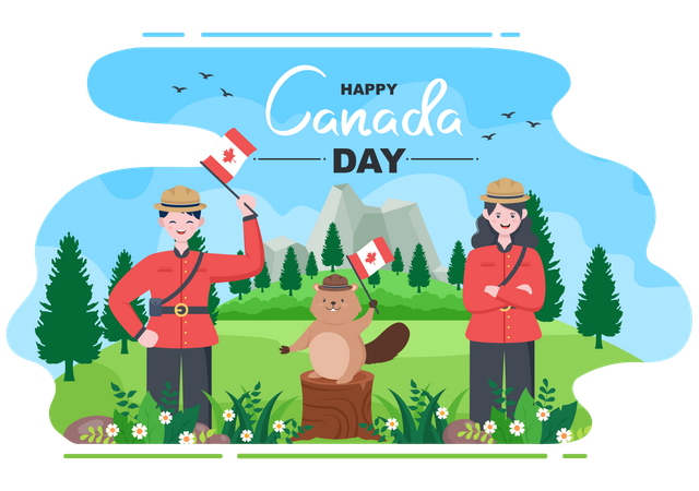 People and squirrel celebrating Canada Day Illustration