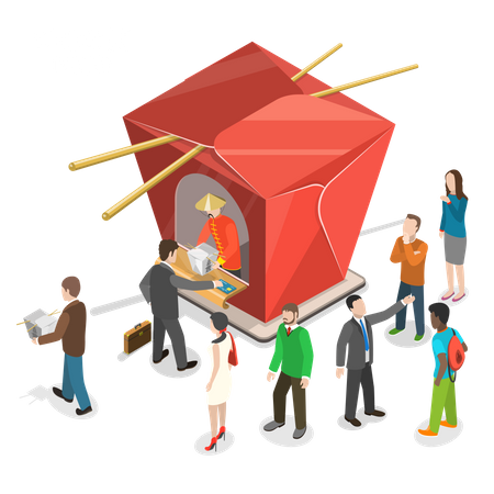 People are stand in line for Chinese food to the Chinese restaurant shown as a cardboard box for Chinese dishes Illustration