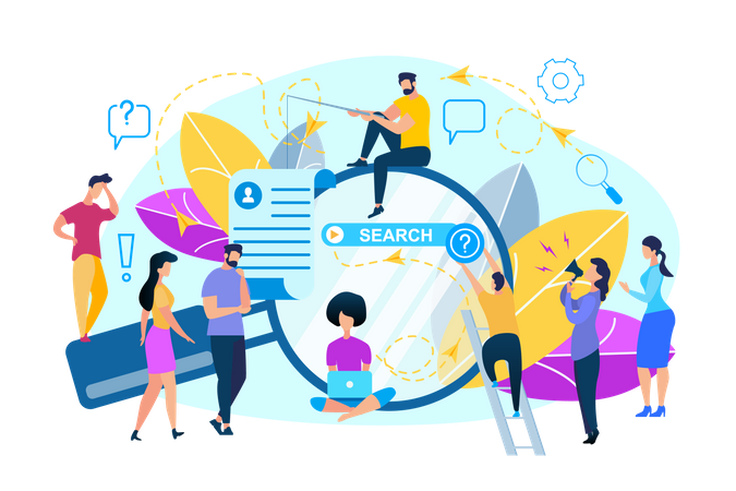 People  Around of Huge Magnifier Glass with Search Browser Page and getting Information Illustration