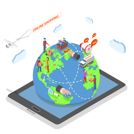 People around the world make purchases using online stores staying on the Earth model that protrudes from tablet Illustration