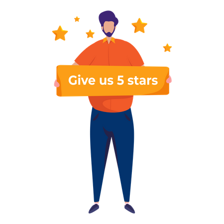 People asking for reviews request for 5 star rating Illustration