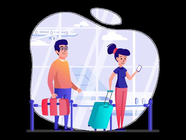 People at boarding queue Illustration