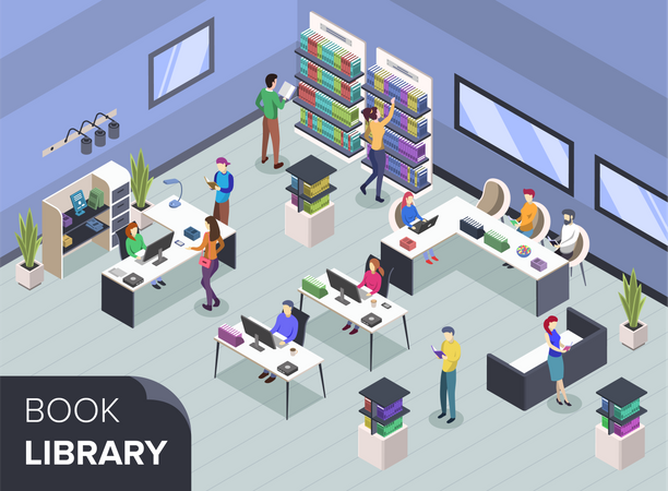 People at modern book library Illustration