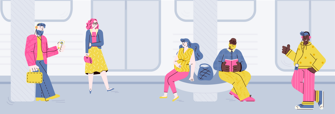 People at subway station waiting for the train Illustration