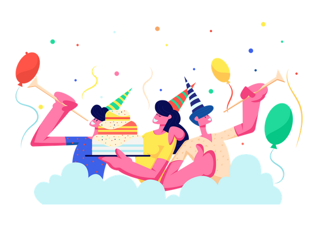 People celebrating birthday Illustration