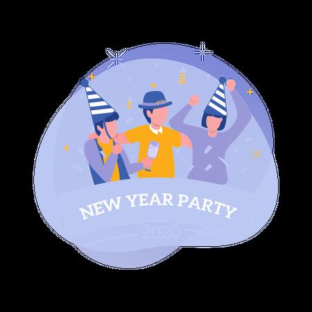 People celebrating new year 2020 Illustration