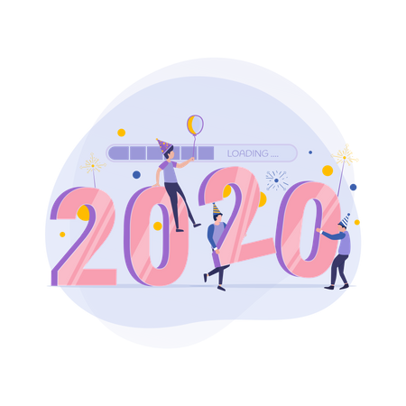 People celebrating new year with balloon Illustration