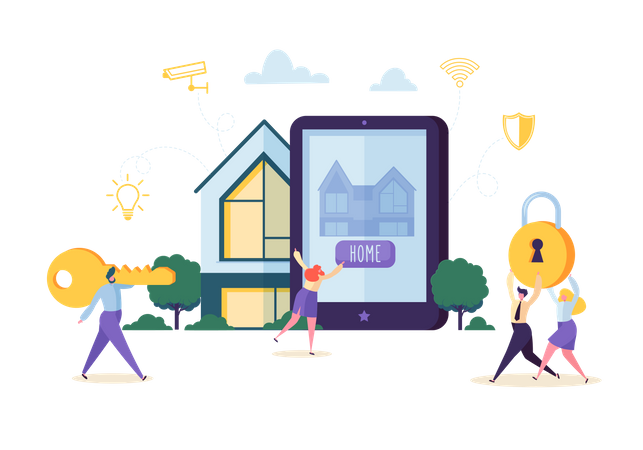 People Characters Controlling Home Security and Power Energy with Mobile Application on Tablet Illustration