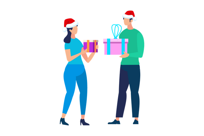 People Characters in Santa Claus Hats Exchanging gifts Illustration