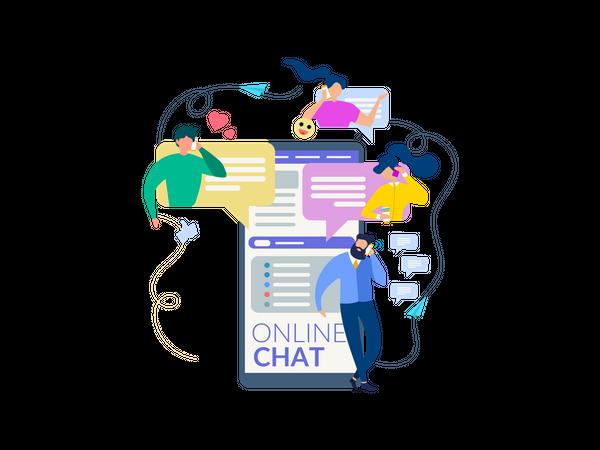 People chatting on messaging app Illustration