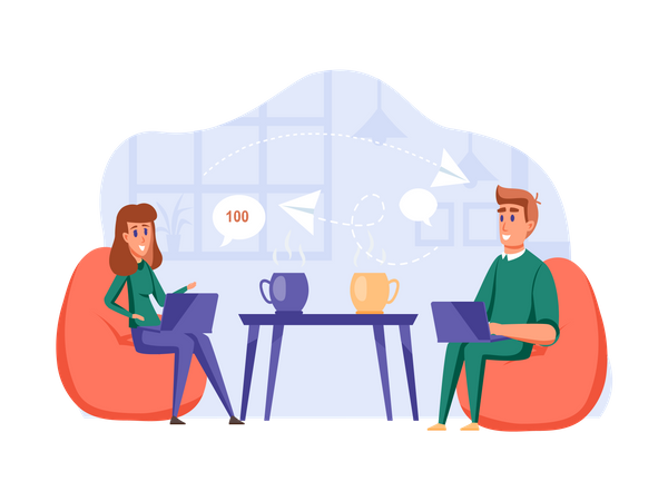 People chatting on social media Illustration