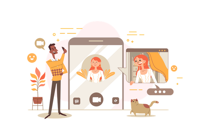 People chatting on video call Illustration