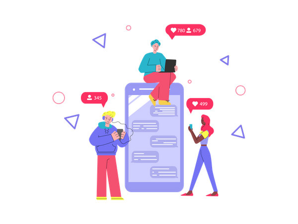 People checking their social media likes and followers notifications Illustration