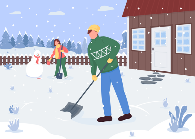 People cleaning snow outside the house Illustration