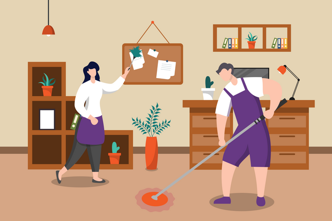 People cleaning the office Illustration