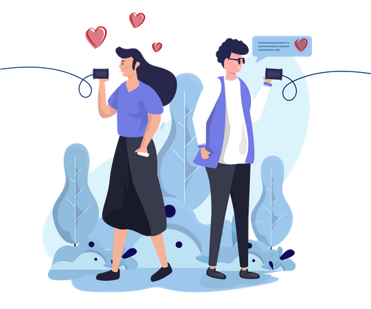 People communicate by tin can phone Illustration