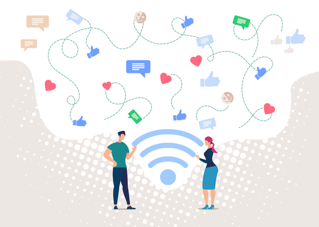 People Communicating in Social Network, Wireless Public Internet Access Point Illustration