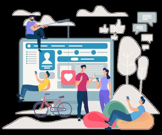 People Communicating via Internet Using web Illustration