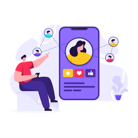 People connected over social media Illustration