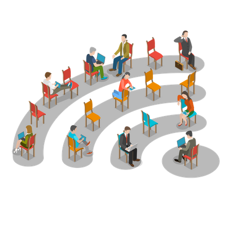 People connected over wi-fi network Illustration