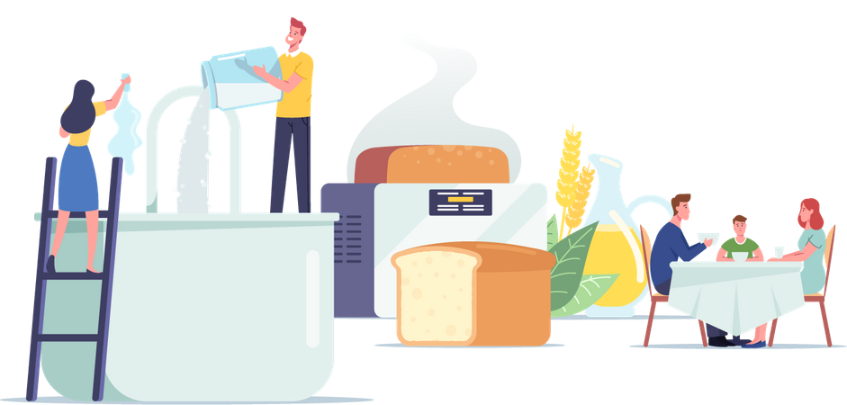 People Cooking and Eating Fresh Bakery Illustration