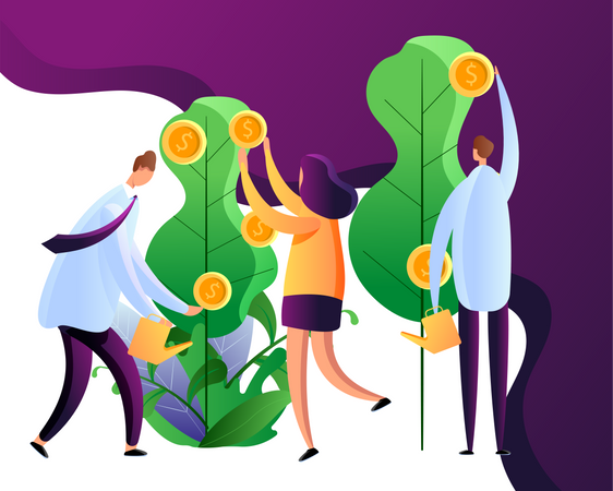 People cultivating golden coins Illustration