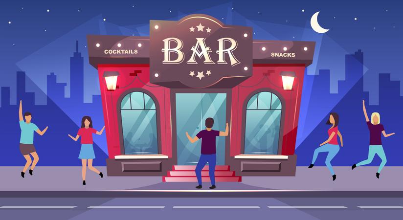 People dancing at bar Illustration