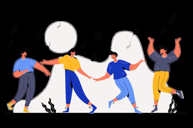 People dancing on festival Illustration