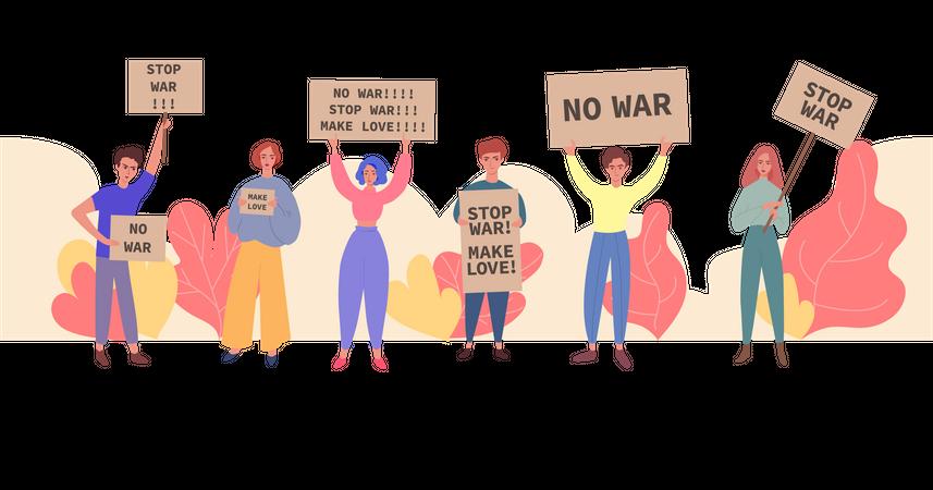 People demonstrating against war Illustration