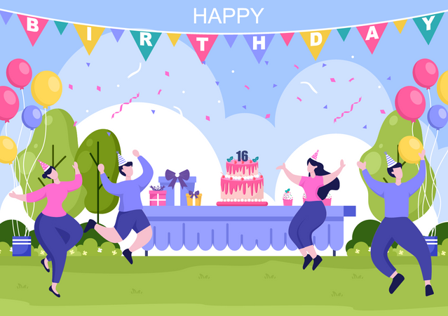 People doing Birthday Party Illustration