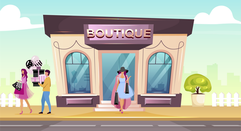 People doing fashion products from boutique Illustration