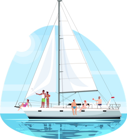 People doing fun on ship Illustration