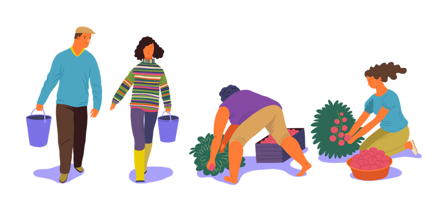 People Doing Gardening Illustration